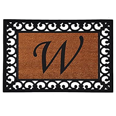Home & More 180041925W Inserted Doormat, 19  X 25  x 0.60 , Monogrammed Letter W, Natural/Black