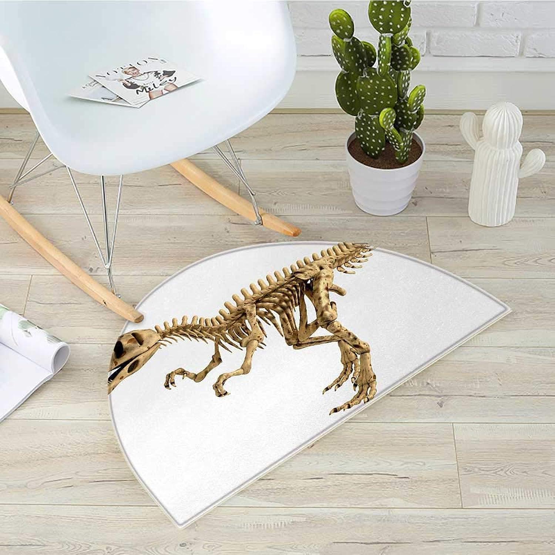 Dinosaur Semicircle Doormat Fossil Dino Skeleton Bones Realistic Image Dangerous Dead Extinct Reptile Halfmoon doormats H 31.5  xD 47.2  Pale Brown White