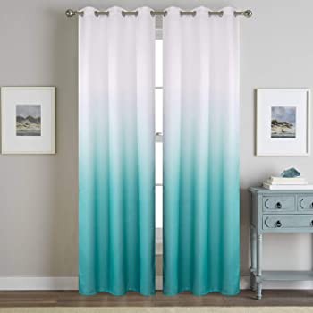 WUBODTI Turquoise Curtians for Living Room 2 Panels Insulated Teal Curtains 84inches Length Faux Linen for for Kids Bedroom Window Treatment Draperies Aqua White Semi Blackout