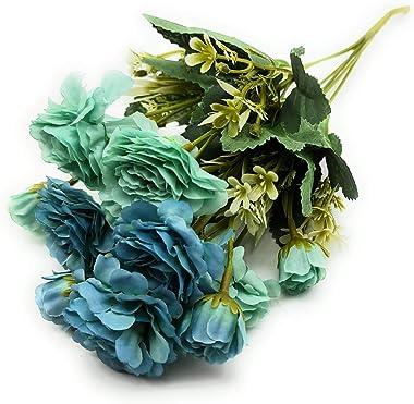 SATYAM KRAFT Artificial Fabric Peony 6 Heads Flower Bouquet Bunch, 1 Bunch (Blue Shade)