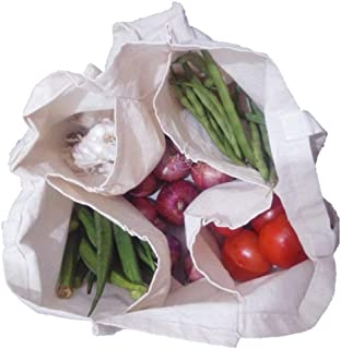 ThEssentials Canvas Cotton 8 Pockets Reusable Washable Grocery Bags (Off-White, 1245)