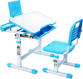 Adjustable Kids Study Desk and Chair Set,Educational Study Table For Kids (Blue)