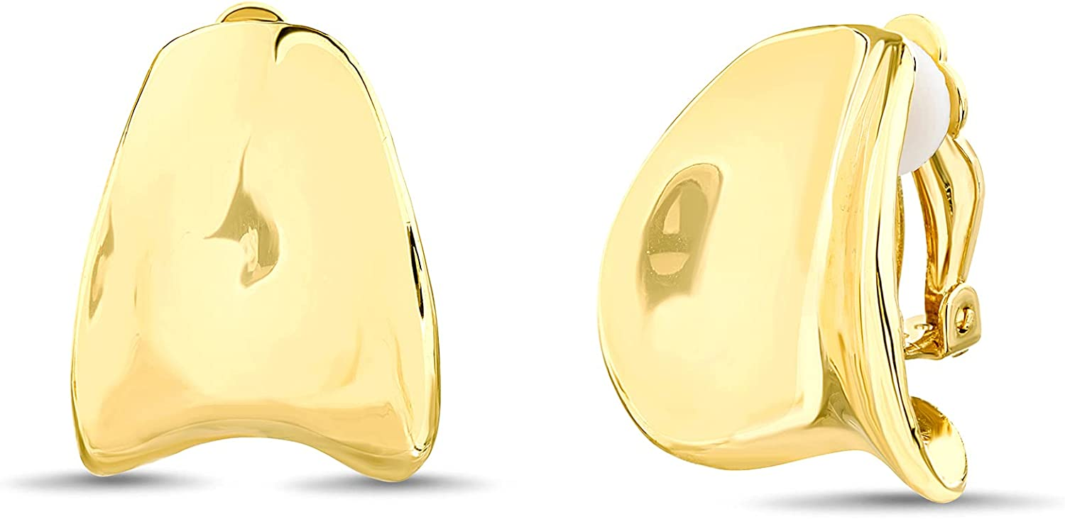 Badgley Mischka High Polished Yellow Curved Shape Clip On Earrings for Women