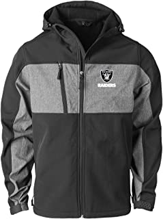 NFL Oakland Raiders Mens Zephyr Softshell Jacket, Black/Grey, Medium