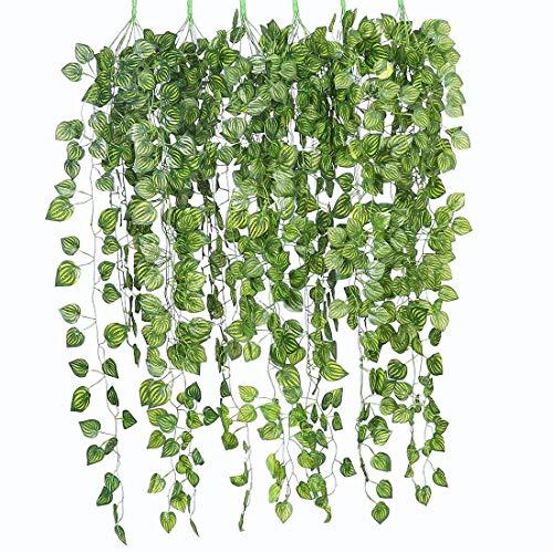 Justoyou - Lot de 6plantes de lierre 90cm Guirlande à suspendre pour extérieur/intérieur, Hanging Plants Style 4, 6pcs 3ft