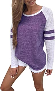 haoricu Women Blouse Womens Stripe Crew Neck T Shirt Long Sleeve Solid Sweatshirt Pullover Tops