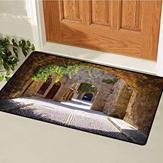 RelaxBear Tuscan Universal Door mat Ancient Italian Street in a Small Provincial Town of Tuscan Italy European Door mat Floor Decoration W19.7 x L31.5 Inch Brown Green Grey
