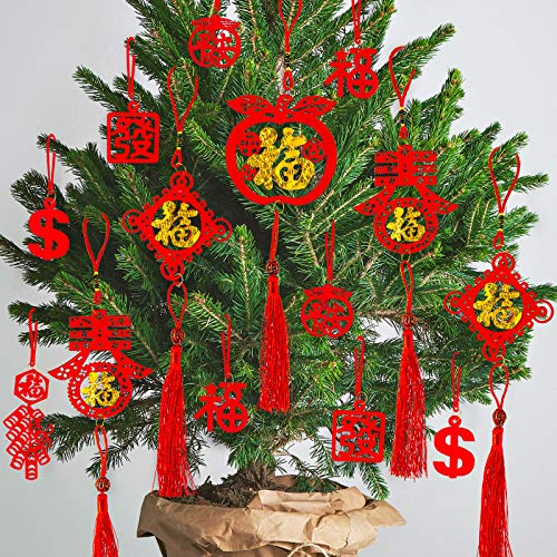 Whaline 46Pcs Chinese New Year Decorations Mini Red Chinese Knot Pendant Traditional Lucky Hanging Ornaments for New Year Home Office Car Tree Spring Festival Decorations, 8 Designs