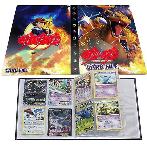ESOOR Pokemon Comercio Tarjeta Álbum, Pikachu Collection Handbook, Pokemon Cards Album Book La Mejor protección para Pokemon Trading Cards GX EX (Charizard)