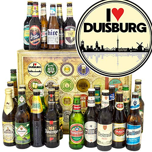 I love Duisburg / 24x Bier DE und Welt/Geburtstagsüberraschung Duisburg/Bier Adventskalender Männer