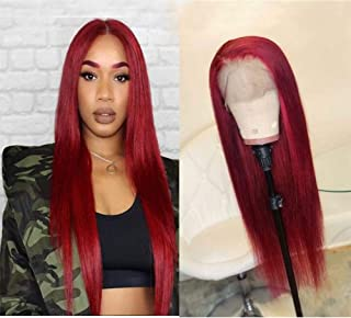 Wicca Hair Red Color Natural Looking Lace Front Wigs for Fashion Women Long Straight 130% Density Brazilian Remy Human Hair Glueless Pre Plucked Full Lace Wig with Baby Hair (24 Inch, Lace Front Wig)