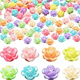 300 Pieces Resin Rose Flower Beads 12mm Mixed Iridescent Flower Rose Beads Assorted Acrylic Pastel Color Rose Loose Beads for DIY Craft Jewelry Making