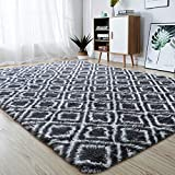 junovo Soft Area Rugs Fluffy Modern Geometric Rugs for Bedroom Living Room, Shaggy Floor Carpets Large Indoor Mat for Girls Boys Kids Room Nursery Home Decor, 4ft x 6ft, Dark Grey