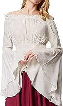 Womens Renaissance Blouse Off Shoulder Trumpet Sleeve Peasant Tops Medieval Victorian Costume