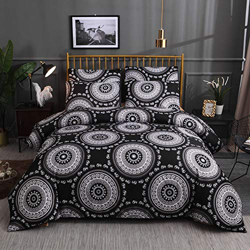 Omela Bohemian Mandala Bettwäsche 135x200 Indisch Elefant Hippie Boho Bettbezug mit Reißverschluss 100% Weich Mikrofaser Deckenbezug Kissenbezug 80x80 cm Schwarz