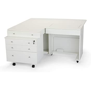 Ash White Three Drawer Sewing Storage Sidekick Kangaroo Kabinets K7811 Joey
