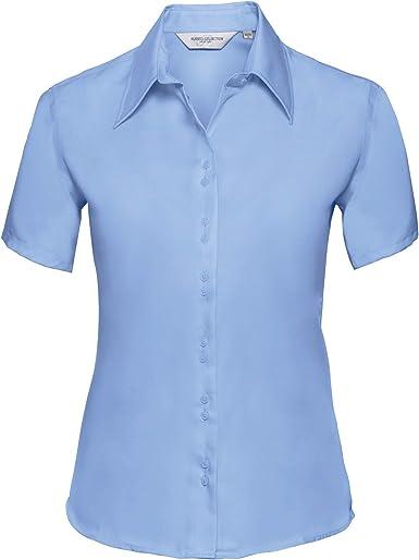 Russell Collection- Camisa de Manga Corta Que no Necesita Planchado para Mujer
