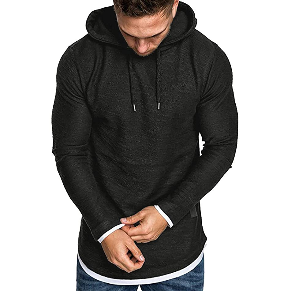 Mens Pullover Hoodie Long Sleeve t-Shirt Sweater Slim fit Sweatshirt (Size:L, Black)