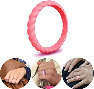 CHSTAR Silicone Wedding Rings for Women - Premium Fashion Forward Stackable Silicone Rubber Wedding Bands, Size 4 5 6 7 8 9, Hypoallergenic Medical Grade Silicone Ring for Women - Classic Style.