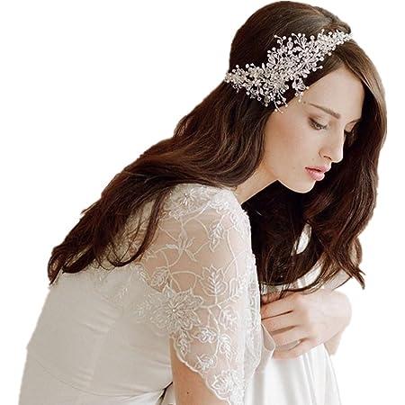 Haarreif Haarband Haarspange Strass Perle f Braut Hochzeit Tiara