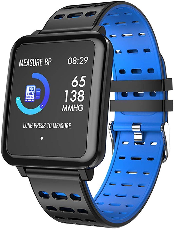 JIAX Smartwatch IP67 wasserdicht tragbares Gert Blautooth Schrittzhler Pulsmesser Farbdisplay Fitness Tracker für Android IOS,Blau