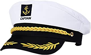 LUOEM Adjustable Yacht Captain's Hat Sailors Sea Cap Navy Captain Hat Adult Sailor Cosplay Costume Accessory (White)