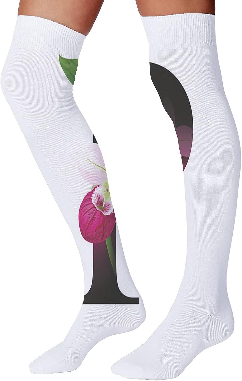 Men's and Women's Fun Socks,Lace Style Victorian Flower Motifs on Wavy Backdrop Western Girls Pattern