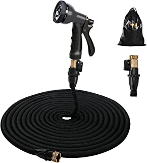 Gospire 100ft Expandable Garden Hose - Strongest Flexible Water Hose with Triple Latex Core+On/Off Valve+3/4