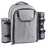 Forbidden Road Backpack Cooler Picnic Backpack with Blanket Soft, Cooler Compartment, Bottle Holder Waterproof Picnic Bag for Outdoor Hiking Backpacking Traveling Short Trip Workout Work (Gray)