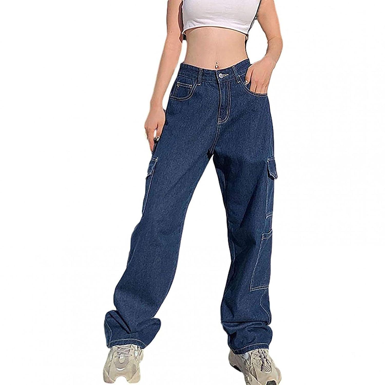 Padaleks Women's Autumn Vintage Denim Pants Casual Loose Patchwark Wide Leg Trousers Jeans High Waist/Pockets