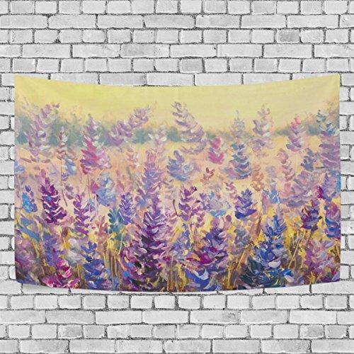 TIZORAX Tapices florales azules morados para colgar en la pared del hogar, campo de delicadas flores, tapiz de lavanda para decoración de pared para sala de estar, dormitorio, 222,4 x 55,4 cm