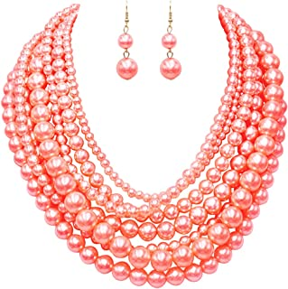 """Rosemarie & Jubalee Women's Multi Strand Simulated Pearl With Flower Detail Necklace and Earrings Bridal Jewelry Set, 18""""-..."""