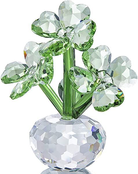 Qf Crystal Flower Dreams Four Leaf Clover Figurine Collectibles Crystal Ornament