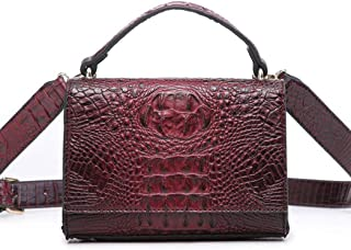 Textured handbag, versatile shoulder bag, messenger small square bag, scarf hand strap, simple atmosphere, essential for travel dating (Color : Red, Size : One size)