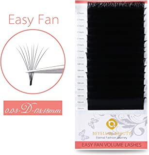 BEYELIAN Easy Fan Eyelash Extensions Full Mega Volume Self Fanning Mink Lash Extensions Stylists Use .03mm Ultra Thin Lightweight up to 16D 20D D Curl Long 17 18mm