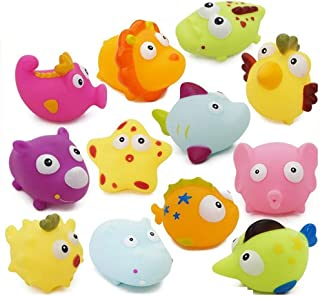 """NeatoTek 12 Pack Assorted Colorful Sea Animal Bath Squirter Toys 3"""" Rubber Water Baby Toddler Bath Toy Figures Kids Fun Squirt Toys Floating Bathroom Toys"""