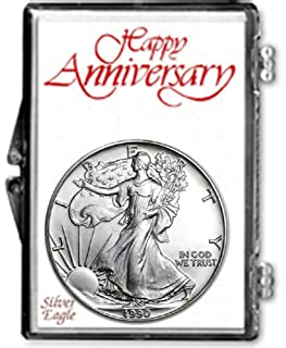 1990-1 Ounce American Silver Eagle in Anniversary Holder Dollar Uncirculated Us Mint