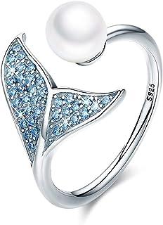 CNNIK Anello a forma di sirena in argento sterling 925 con perla per donna Compleanno per ragazze Natale con scatola per g...
