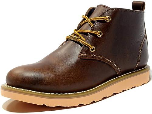 Qiusa Boos de Cuero Genuino clásico para hombres con Cordones botas de Suela Blanda Informal al Aire Libre (Color   marrón, tamaño   EU 44)