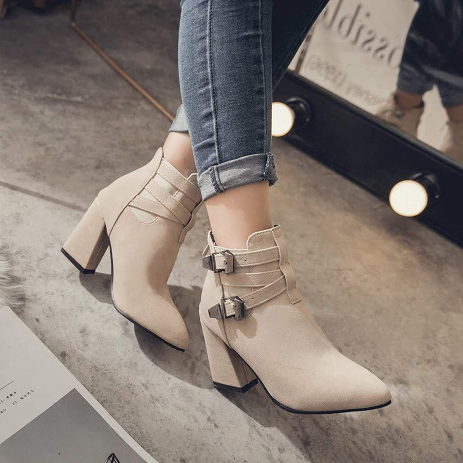 Women Fashion Warm Metal Super High Thick Heel Ankle Boots Point Toe shoes