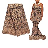 African Lace Fabric,WorthSJLH Gold French Lace Fabric 2020 Nigerian Lace Fabric 5 Yards Bridal Wedding Net Lace Materials for Women 886 (Gold)