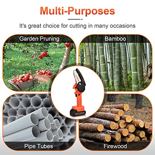 20V Mini Chainsaw, JUEMEL Portable Cordless Chain Saw ( 1500mAh Battery, Charger, 4-Inch Guide Plate) for Wood Cutting, Tree Branches Shears Pruning, Courtyard, Household and Garden