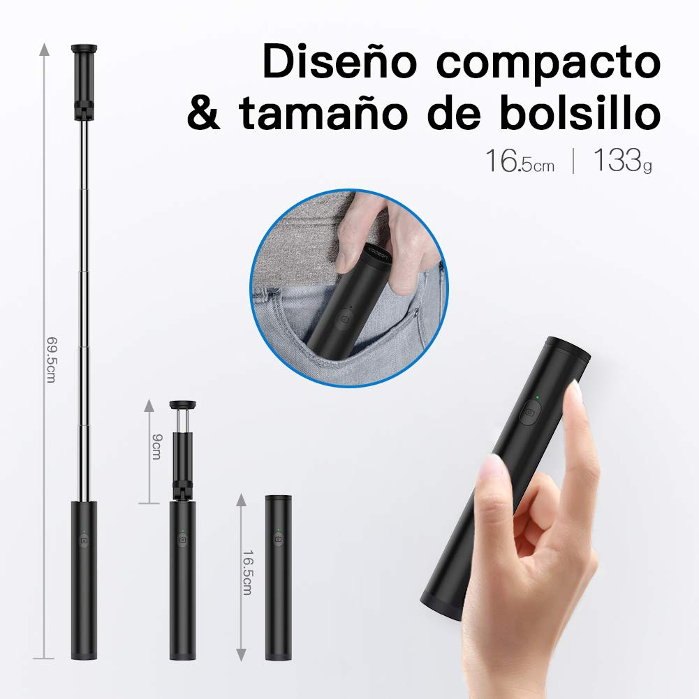 Yoozon Mini Palo Selfie, Bluetooth Selfie Stick Giratorio para ...