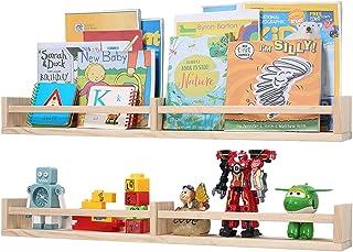 Nursery Bookshelves Wall Mounted, 32inch Wood Floating Wall Bookshelf for Kids, Hanging Shelf for Baby Nursery Room Decor ...
