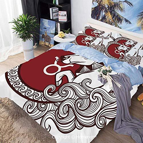 Soefipok 3-teiliger Bettbezug, Astrologiekalender Bull Classic Tierfigur Person Symbolic Design Dekorativ, Beinhaltet 1 Bettbezug + 2 Kissenbezüge, Ruby Chestnut Brown White, Bettbezug-Set