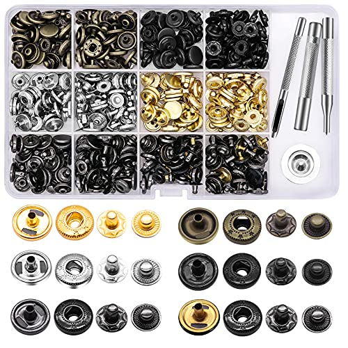 120 Set Leather Snap Fasteners Kit, 12.5mm Metal Button Snaps Press Studs with 4 Setter Tools, 6 Color Leather Snaps for Clothes, Jackets, Jeans Wears, Bracelets, Bags (Standard)