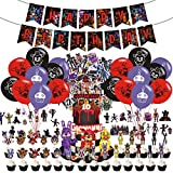 Five Nights at Freddy Birthday Party Supplies Set, 24 Balloons,Banner, 24 cupcake toppers small flags, large flag, Freddy Theme Party Decorations.
