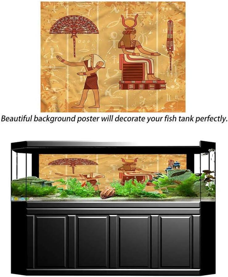 ScottDecor Egyptian,Home Aquarium D/écor Backgrounds,Ancient Pyramids Landmarks,Cling Decals Poster