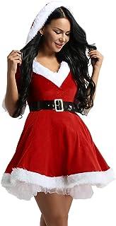 9b0ddefe4 iiniim Disfraz Miss Santa Navidad Vestido de Lujo con Capucha Cosplay Traje  de Terciopelo para Mujer