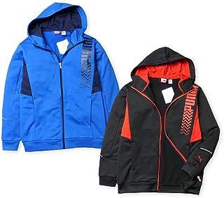 子供服 男の子 アウター フルジップ ジャケット PUMA プーマ 吸水 速乾素材 裏毛 フード付 ブランドロゴ 男児 ジュニア